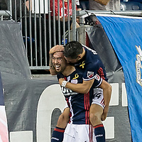 Foxborough, Massachusetts - September 23, 2017: In a Major League Soccer (MLS) match, New England Revolution (blue/white) defeated Toronto FC (red), 2-1, at Gillette Stadium.<br /> Lee Nguyen celebrates 50th career goal.