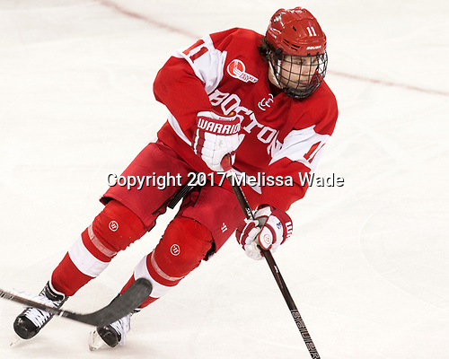 Patrick Curry (BU - 11) - The visiting Boston University Terriers defeated the Boston College Eagles 3-0 on Monday, January 16, 2017, at Kelley Rink in Conte Forum in Chestnut Hill, Massachusetts.