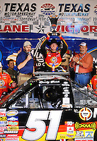 Nov. 6, 2009; Fort Worth, TX, USA; NASCAR Camping World Truck Series driver Kyle Busch celebrates after winning the WinStar World Casino 350 at the Texas Motor Speedway. Mandatory Credit: Mark J. Rebilas-