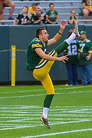 Green Bay Packers punter Justin Vogel (5) during a preseason football game against the Philadelphia Eagles on August 10, 2017 at Lambeau Field in Green Bay, Wisconsin. Green Bay defeated Philadelphia 24-9.  (Brad Krause/Krause Sports Photography)