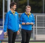 AMSTELVEEN  - scheidsrechters   Bart Vriens en Steven Bakker , hoofdklasse hockeywedstrijd dames Pinole-Laren (1-3). COPYRIGHT  KOEN SUYK