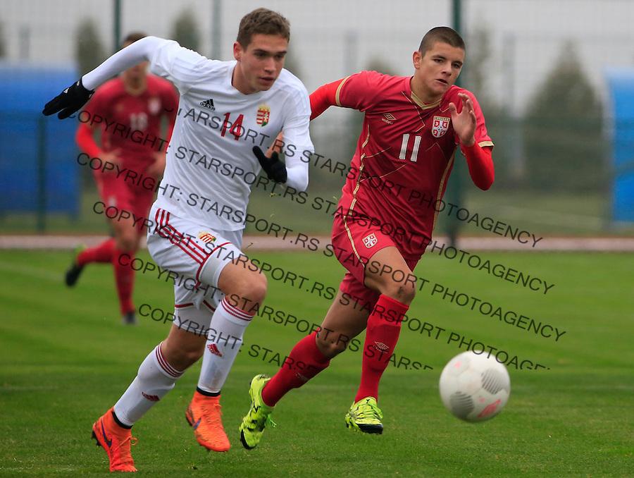 Fudbal soccer friendly match<br /> Srbija U17 v Madjarska U17<br /> Dejan Joveljic (R)<br /> Stara Pazova, 08.12.2015.<br /> foto: Srdjan Stevanovic/Starsportphoto &copy;