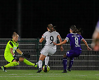 20190920 – LEUVEN, BELGIUM : OHL's Hannah Eurlings (9) is goal attempt is pictured during a women soccer game between Dames Oud Heverlee Leuven A and RSC Anderlecht Ladies on the fourth matchday of the Belgian Superleague season 2019-2020 , the Belgian women's football  top division , friday 20 th September 2019 at the Stadion Oud-Heverlee Korbeekdam in Oud Heverlee  , Belgium  .  PHOTO SPORTPIX.BE   SEVIL OKTEM