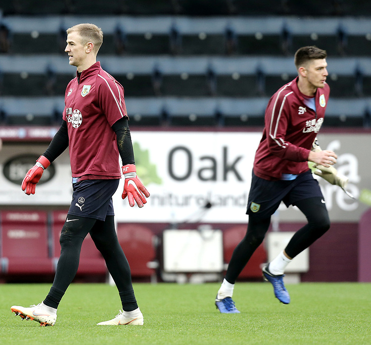 Burnley's Joe Hart (left) and Nick Pope during the pre-match warm-up <br /> <br /> Photographer Rich Linley/CameraSport<br /> <br /> Emirates FA Cup Third Round - Burnley v Barnsley - Saturday 5th January 2019 - Turf Moor - Burnley<br />  <br /> World Copyright © 2019 CameraSport. All rights reserved. 43 Linden Ave. Countesthorpe. Leicester. England. LE8 5PG - Tel: +44 (0) 116 277 4147 - admin@camerasport.com - www.camerasport.com