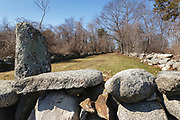 Stonewall on the grounds of Odiorne Point State Park in Rye, New Hampshire.