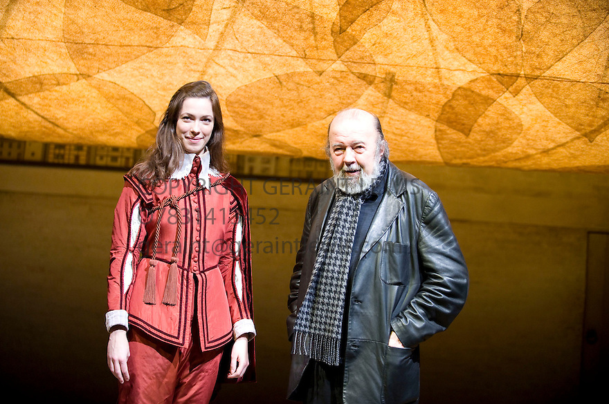 Sir Peter Hall  with  daughter Rebecca Hall  who plays Viola at the photocall  on The stage of The Cottesloe Theatre where he is directing Twelfth Night.Opens on 18/1/11 . CREDIT Geraint Lewis