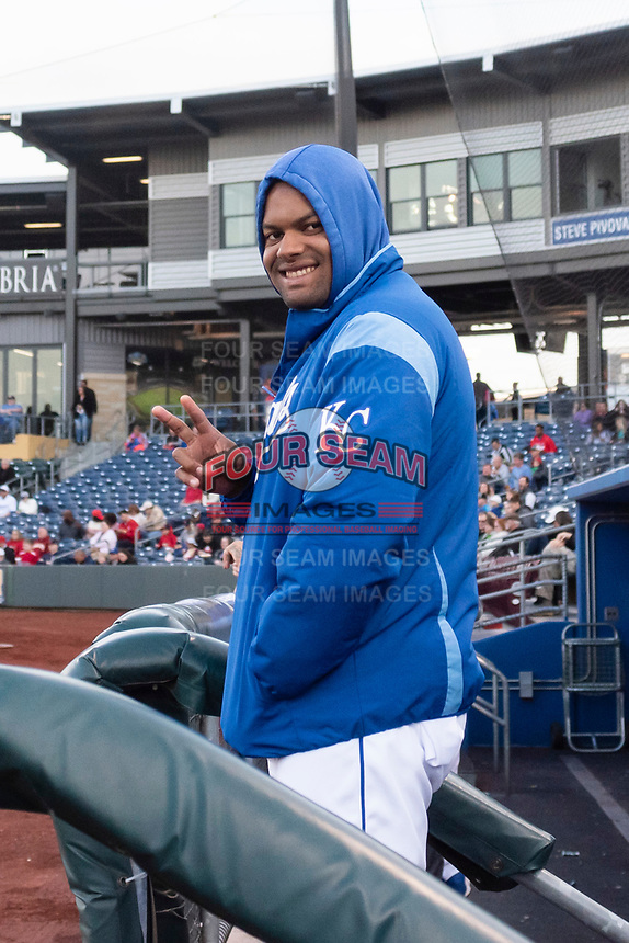 Omaha Storm Chasers pitcher Jorge Bonifacio (41) during a Pacific Coast League game against the Memphis Redbirds on April 26, 2019 at Werner Park in Omaha, Nebraska. Memphis defeated Omaha 7-3. (Zachary Lucy/Four Seam Images)
