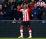 Nederland, Eindhoven, 2 februari 2013.Eredivisie.Seizoen 2012-2013.PSV-ADO Den Haag.Georginio Wijnaldum van PSV juicht nadat hij een doelpunt heeft gemaakt, 1-0
