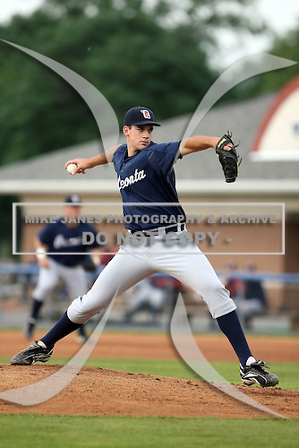 July 24 2008:  Pitcher David Stokes of the Oneonta Tigers, Class-A affiliate of the Detroit Tigers, during a game at Dwyer Stadium in Batavia, NY.  Photo by:  Mike Janes/Four Seam Images