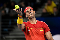 12th January 2020; Sydney Olympic Park Tennis Centre, Sydney, New South Wales, Australia; ATP Cup Australia, Sydney, Day 10; Serbia versus Spain; Novak Djokovic of Serbia versus Rafael Nadal of Spain; Rafael Nadal of Spain tosses the ball before serving to Novak Djokovic of Serbia - Editorial Use