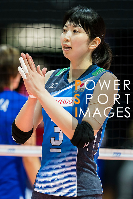 Middle blocker Nana Iwasaka of Japan reacts during the warm up section prior the FIVB Volleyball World Grand Prix - Hong Kong 2017 match between Japan and Russia on 23 July 2017, in Hong Kong, China. Photo by Yu Chun Christopher Wong / Power Sport Images