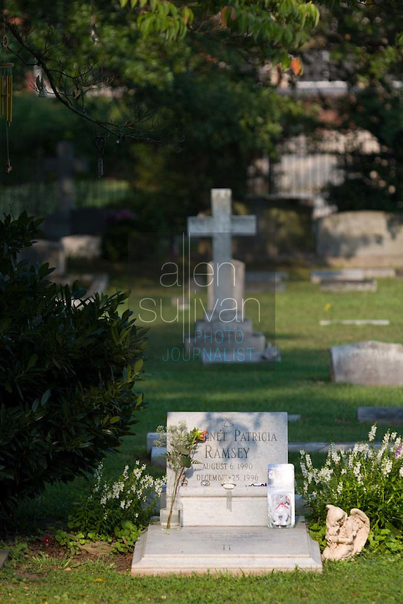 The grave site of JonBenet Ramsey in St. James Episcopal Cemetery. The six-year-old girl was found murdered in 1996.