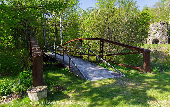 Wrought Iron bridge - This is a pin-connected lenticular truss design used for iron bridges from 1880 - 1890. This bridge spanned the Ham Branch on Delage Farm Road in Franconia from 1889 - 2001. It now is on display at the Stone Iron Furnace site in Franconia, New Hampshire.
