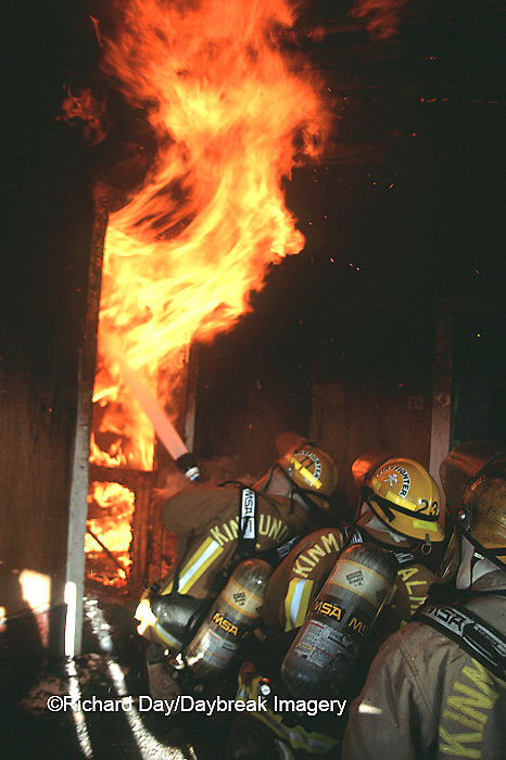 63818-01512 Firefighters fighting fire inside burning house  Kinmundy-Alma Fire District,  Kinmundy IL