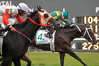 September 3, 2012.  Ben's Cat, ridden by Julien Pimentel and trained by King Leatherbury, comes up late on the outside to win the grade III Turf Monster Handicap, a Breeders' Cup Challenge race, in a photo finish at Parx Racing. Chamberlain Bridge (beside Ben's Cat but not visible here) was second and #4 Great Mills was third. ((Joan Fairman Kanes/Eclipse Sportswire)