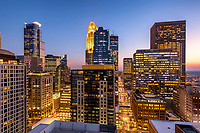Minneapolis, Minnesota skyline at dusk as seen from the 30th floor of the 365 Nicollet apartment tower.