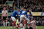 "Portsmouth 1 Southampton 1, 18/12/2012. Fratton Park, Championship. Portsmouth players reacting with delight to Joel Ward's late equalising goal at Fratton Park stadium as their club take on local rivals Southampton in a Championship fixture. Around 3000 away fans were taken directly to the game in a fleet of buses in a police operation known as the ""coach bubble"" to avoid the possibility of disorder between rival fans. The match ended in a one-all draw watched by a near capacity crowd of 19,879. Photo by Colin McPherson."