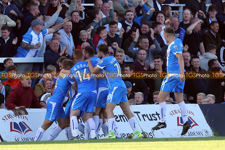 Jonathan Franks of Hartlepool United is congratulated after scoring the opening goal during Hartlepool United vs Dagenham & Redbridge, Vanarama National League Football at Victoria Park on 9th September 2017