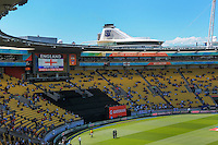 The big screen shows England electing to bat first after winning the toss in the ICC Cricket World Cup one day pool match between the New Zealand Black Caps and England at Wellington Regional Stadium, Wellington, New Zealand on Friday, 20 February 2015. Photo: Dave Lintott / lintottphoto.co.nz