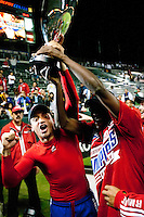 CARSON, CA – NOVEMBER 14: FC Dallas players celebrating their victory after the Western Conference Final soccer match at the Home Depot Center, November 14, 2010 in Carson, California. Final score LA Galaxy 0, Dallas FC 3.
