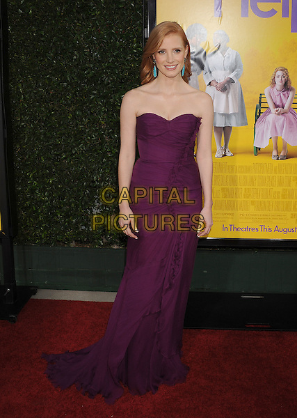 "Jessica Chastain.arriving at the Los Angeles Premiere of ""The Help"" at the Samuel Goldwyn Theater inside the Academy of Motion Picture Arts and Sciences in Beverly Hills, California, USA, August 9th 2011..full length purple long maxi strapless dress  ruffle .CAP/ROT/TM.©TM/Roth Stock/Capital Pictures"