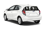 Car pictures of rear three quarter view of a 2015 Toyota Prius c Three 5 Door Hatchback Angular Rear