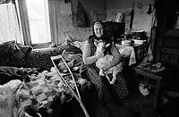 ROMANIA / Maramures / Valeni / April 2003..An old woman poses with one of her newborn sheep. ..© Davin Ellicson / Anzenberger..
