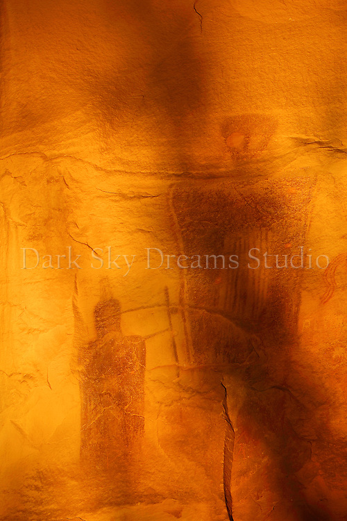 Detail from an intricate panel of Barrier style pictographs located in Sego Canyon, Utah