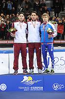 SHORT TRACK: TORINO: 15-01-2017, Palavela, ISU European Short Track Speed Skating Championships, Podium 1000m Men, Shaoang Liu (HUN), Shaolin Sandor Liu (HUN), Semen Elistratov (RUS), ©photo Martin de Jong