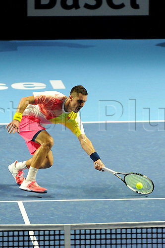 23.10.2016.  St. Jakobshalle, Basel, Switzerland. Basel Swiss Indoors Tennis Championships. Qualifying Day 2. Mischa Zverev in action in the match between Ryan Harrison of the United States of America and Mischa Zverev of Germany