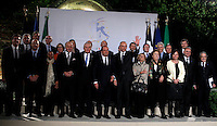 Il Presidente francese Francois Hollande, sesto da sinistra,  prima fila, ed il Presidente del Consiglio Enrico Letta, sesto da destra, posano per la foto di famiglia coi ministri in occasione del vertice intergovernativo italo-francese a Villa Madama, Roma, 20 novembre 2013.<br /> French President Francois Hollande, front row, sixth from left, and Italian Premier Enrico Letta, sixth from right,  pose for a photo family with ministers on the occasion of the intergovernmental summit between Italy and France at Villa Madama, Rome, 20 November 2013.<br /> UPDATE IMAGES PRESS/Isabella Bonotto