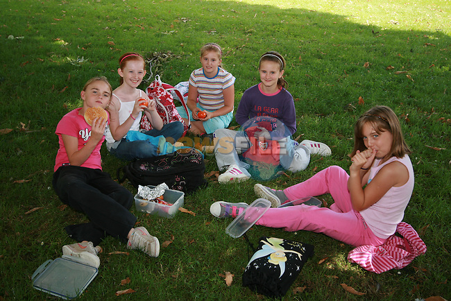 Naomi Kelly, Rachel Brennan, Amy Brennan, Caitlin Donnelly and Chloe Donnelly Fitzpatrick having some lunch at the Greenhills Summer Camp...Photo NEWSFILE/Jenny Matthews.(Photo credit should read Jenny Matthews/NEWSFILE)....This Picture has been sent you under the condtions enclosed by:.Newsfile Ltd..The Studio,.Millmount Abbey,.Drogheda,.Co Meath..Ireland..Tel: +353(0)41-9871240.Fax: +353(0)41-9871260.GSM: +353(0)86-2500958.email: pictures@newsfile.ie.www.newsfile.ie.FTP: 193.120.102.198.