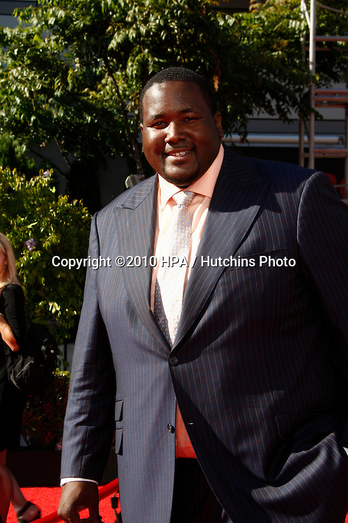 LOS ANGELES - JUL 14:  Quinton Aaron arrives at the 2010 ESPY Awards at Nokia Theater - LA Live on July14, 2010 in Los Angeles, CA ....