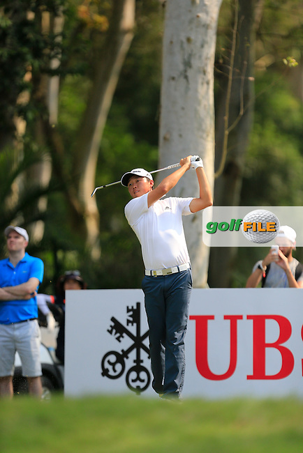David Lipsky (USA) on the 12th tee during Round 1 of the 2015 UBS Hong Kong Open at the Hong Kong Golf Club in The Netherlands on 2/10/15.<br /> Picture: Thos Caffrey | Golffile
