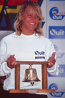 Four times Women's World Surfing Champion Lisa Andersen (USA) after winning the Quit Women's Classic, part of the 1990 Rip Curl Pro at Bells Beach, Torquay, Victoria, Australia. Photo: joliphotos.com