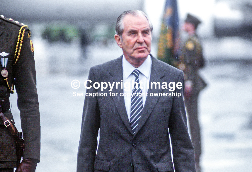 Israeli president, Chaim Herzog, on arrival at Dublin Airport for a state visit to Ireland. Herzog was born in Belfast and educated in Dublin during the time his father was the Chief Rabbi of Ireland. Herzog served in the British Army during World War Two. 19850601CH5<br /> <br /> Copyright Image from Victor Patterson, 54 Dorchester Park, <br /> Belfast, UK, BT9 6RJ<br /> <br /> t1: +44 28 9066 1296 (from Rep of Ireland 048 9066 1296)<br /> t2: +44 28 9002 2446 (from Rep of Ireland 048 9002 2446)<br /> m: +44 7802 353836<br /> <br /> e1: victorpatterson@me.com<br /> e2: victorpatterson@gmail.com<br /> www.victorpatterson.com<br /> <br /> Please see my Terms and Conditions of Use at www.victorpatterson.com. It is IMPORTANT that you familiarise yourself with them.<br /> <br /> Images used on the Internet must be visibly watermarked i.e. &copy; Victor Patterson<br /> within the body of the image and copyright metadata must not be deleted. Images <br /> used on the Internet have a size restriction of 4kbs and will be chargeable at current<br />  NUJ rates unless agreed otherwise.<br /> <br /> This image is only available for the use of the download recipient i.e. television station, newspaper, magazine, book publisher, etc, and must not be passed on to any third <br /> party. It is also downloaded on condition that each and every usage is notified within 7 days to victorpatterson@me.com<br /> <br /> The right of Victor Patterson to be identified as the author is asserted in accordance with The Copyright Designs And Patents Act (1988).