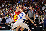 Sergio Llull of Spain and Adris De Leon of Dominican Republic during the Friendly match between Spain and Dominican Republic at WiZink Center in Madrid, Spain. August 22, 2019. (ALTERPHOTOS/A. Perez Meca)