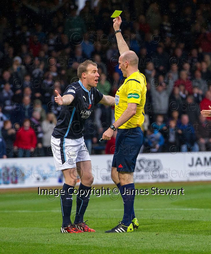 Dundee's David Clarkson goes down in the box but if booked for diving by Referee Bobby Madden.