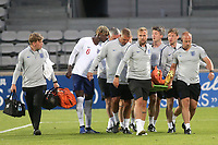 Reece James of Chelsea and England is carried off on a stretcher with a suspected broken ankle as Trevor Chalobah checks his well being during Chile Under-21 vs England Under-20, Tournoi Maurice Revello Football at Stade Parsemain on 7th June 2019