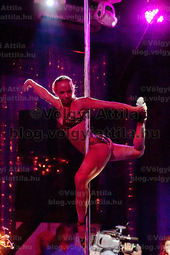 Barbara Palmaffy performs during the Miss Poledance Hungary 2011 competition in Budapest, Hungary on September 03, 2011. ATTILA VOLGYI