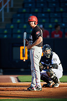 Chattanooga Lookouts designated hitter Travis Harrison (17) at bat in front of catcher Oscar Hernandez (28) during a game against the Jackson Generals on April 27, 2017 at The Ballpark at Jackson in Jackson, Tennessee.  Chattanooga defeated Jackson 5-4.  (Mike Janes/Four Seam Images)