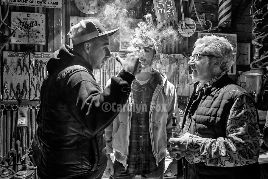 "Smoking Cuban cigars at the end of the ""shift"", Serbian Meat Shop crew of Amador County prepares and stuffs their Srpska kobasica– Serbian domestic sausage–using their secret recipe and methods during their annual winter gathering."