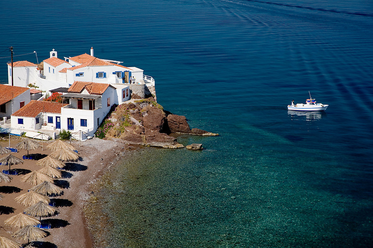 Hydra is popular with walkers, especially the coastal path from Hydra Town to village of Kamini whose pocket-sized harbor is filled with colorfully-painted fishing boats.