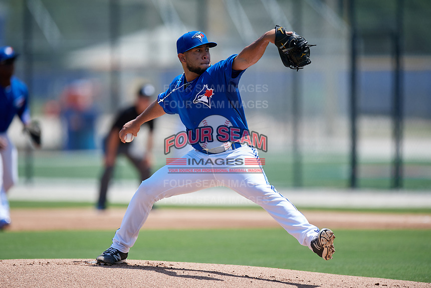 GCL Blue Jays starting pitcher Angel Alicea (90) delivers a pitch during a game against the GCL Pirates on July 20, 2017 at Bobby Mattick Training Center at Englebert Complex in Dunedin, Florida.  GCL Pirates defeated the GCL Blue Jays 11-6 in eleven innings.  (Mike Janes/Four Seam Images)
