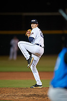 Lakeland Flying Tigers relief pitcher Jason Foley (22) during a Florida State League game against the Tampa Tarpons on April 5, 2019 at Publix Field at Joker Marchant Stadium in Lakeland, Florida.  Lakeland defeated Tampa 5-3.  (Mike Janes/Four Seam Images)