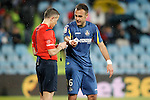 Getafe's Juan Cala have words with the referee Iglesias Villanueva during La Liga match. March 18,2016. (ALTERPHOTOS/Acero)