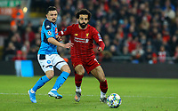 Liverpool's Mohamed Salah battles with Napoli's Mario Rui<br /> <br /> Photographer Alex Dodd/CameraSport<br /> <br /> UEFA Champions League Group E - Liverpool v Napoli - Wednesday 27th November 2019 - Anfield - Liverpool<br />  <br /> World Copyright © 2018 CameraSport. All rights reserved. 43 Linden Ave. Countesthorpe. Leicester. England. LE8 5PG - Tel: +44 (0) 116 277 4147 - admin@camerasport.com - www.camerasport.com