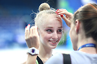 August 29, 2017 - Pesaro, Italy - (L) OLENA DIACHENKO of Ukraine receives makeup help from photographer (R) Kate Kaniuk during training at 2017 World Championships.