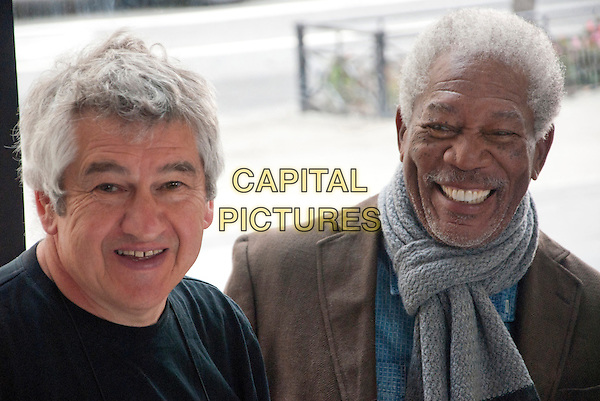 Richard Loncraine (Director), Morgan Freeman<br /> on the set of 5 Flights Up (2014) <br /> *Filmstill - Editorial Use Only*<br /> CAP/FB<br /> Image supplied by Capital Pictures