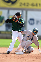 Clinton LumberKings second baseman Martin Peguero (7) looks to first after forcing out a runner during a game against the Beloit Snappers on August 17, 2014 at Ashford University Field in Clinton, Iowa.  Clinton defeated Beloit 4-3.  (Mike Janes/Four Seam Images)